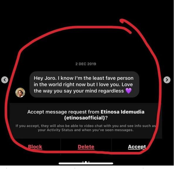 Joro Olomofin Etinosa fake