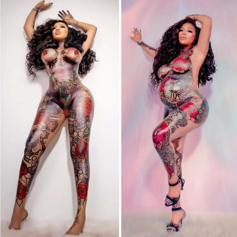 Toyin Lawani flaunts baby bump, glorifies her husband for the incredible photoshoot