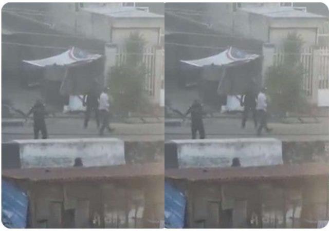 Breaking: Video of Policemen Shooting At Adekunle, Yaba Lagos Surface