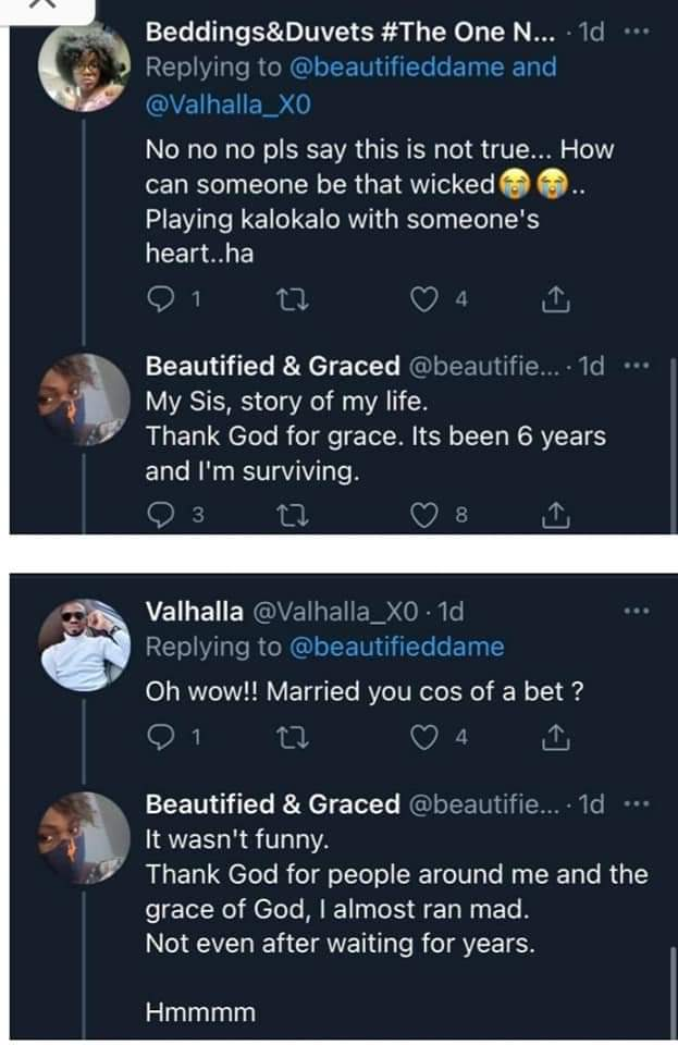 Lady narrates how her ex-husband opened up on not being in love with her but only married her over a bet