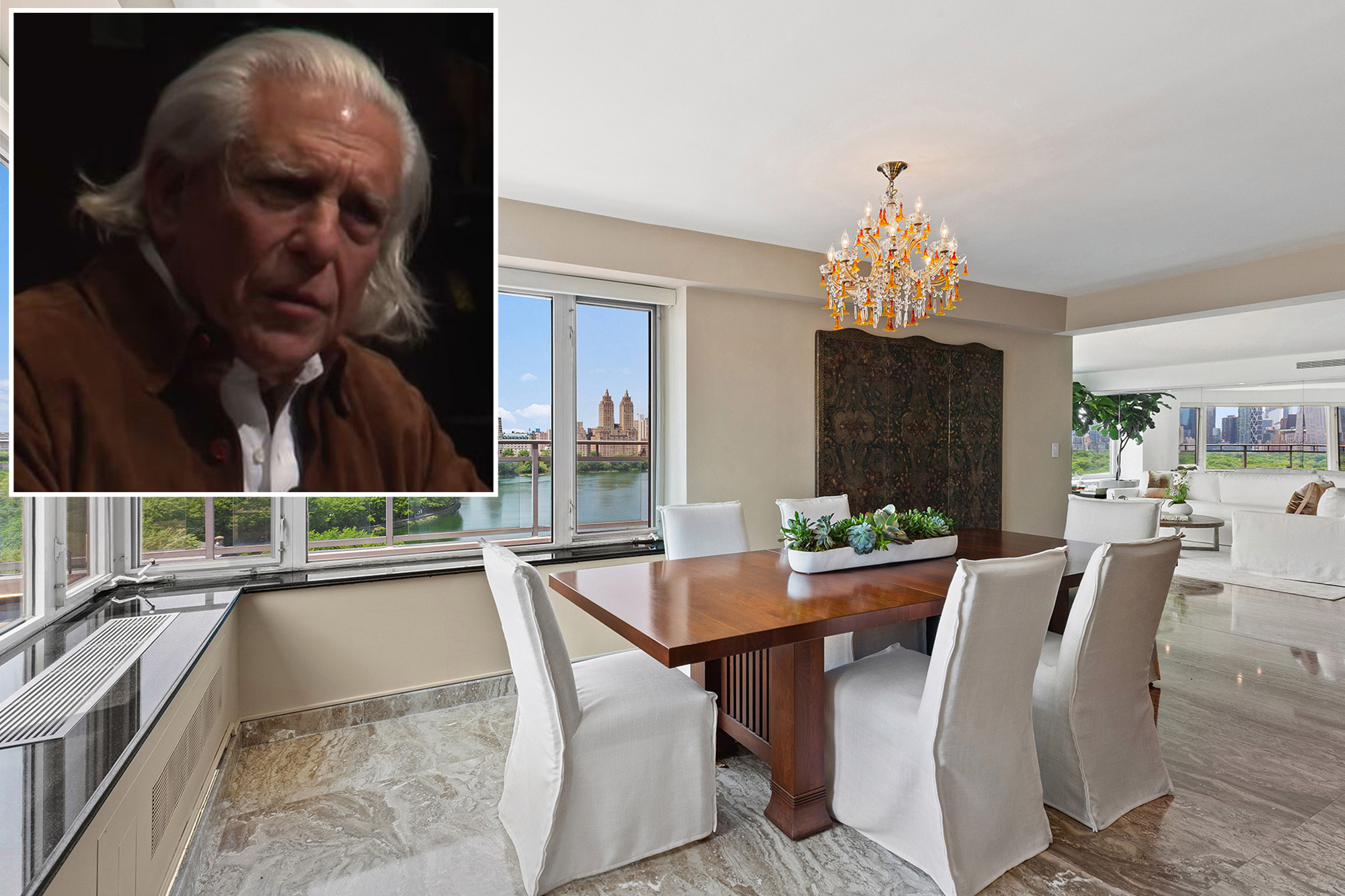 An inset of Donald Schupakover his dining room.