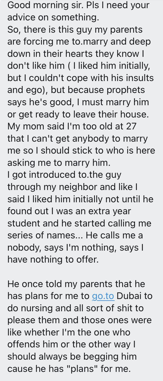 """""""My parents are forcing me to marry a rude man because of his riches"""" - Lady seeks advice"""