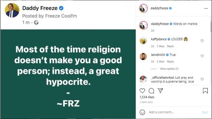 daddy freeze religion